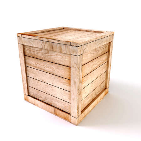 3d wooden box on white background Stock Photo
