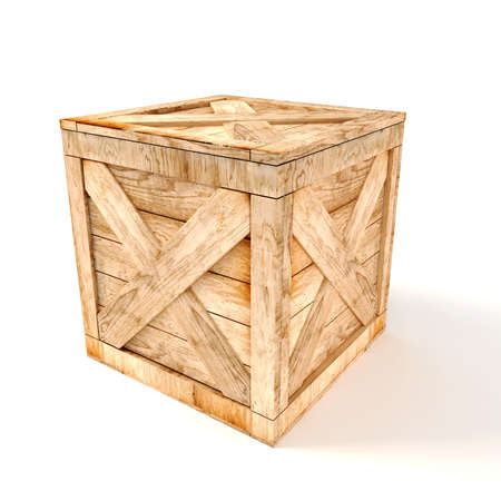 crates: 3d wooden box on white background Stock Photo