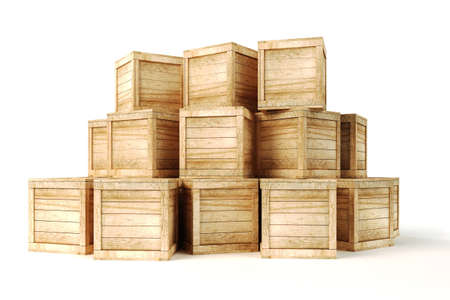 brown box: 3d wooden box on white background Stock Photo