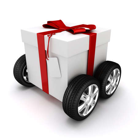 3d present box with red bow on wheels photo