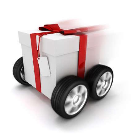 3d Geschenkbox mit roter Schleife auf Rädern