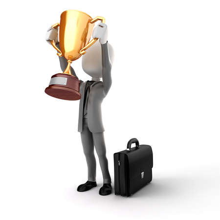 3d man businessman holding a gold trophy cup on white background photo