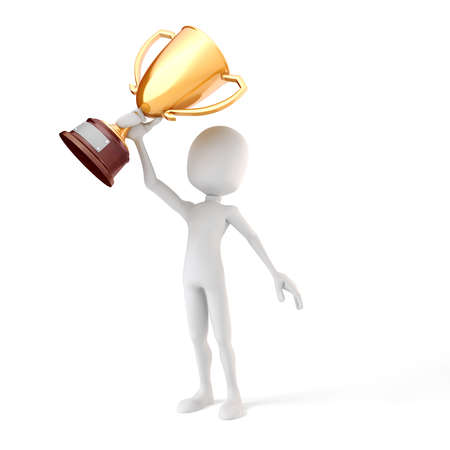 3d man holding a gold trophy cup on white background photo