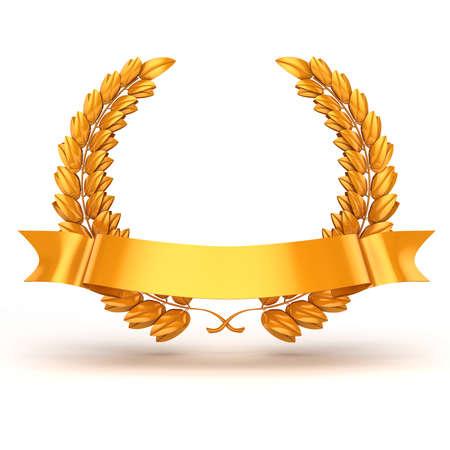 3d goldene Trophäe und Lorbeer