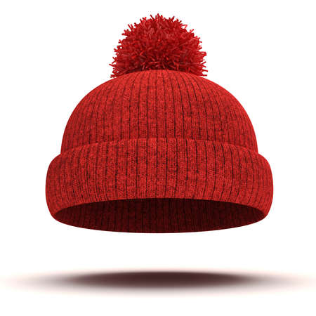 knit cap: 3d red knitted winter cap on white background Stock Photo