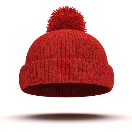 hut: 3D-roten gestrickten Wintermütze auf weißem Hintergrund