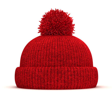 3d red knitted winter cap on white background Stock Photo