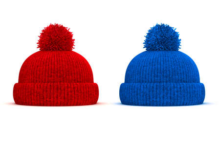 knit cap: 3d red and blue knitted winter cap on white background