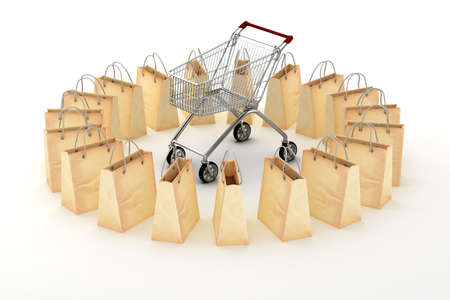 3d paper shopping bags on white background photo