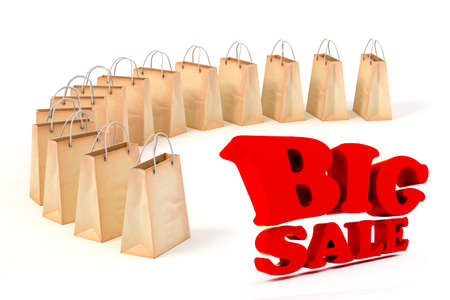 3d paper shopping bags and big red SALE text  on white background photo