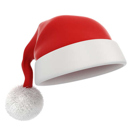 christmas hat: 3d Santa claus red hat on white background