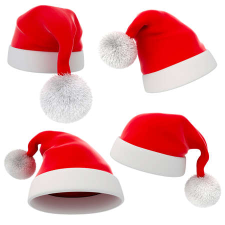 santa costume: 3d Santa claus red hat on white background
