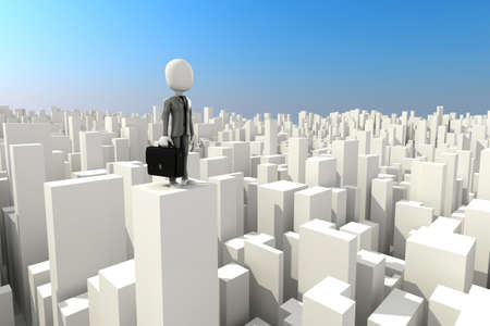 man s: 3d man businessman standing on the rooftop of s kyscraper  Stock Photo