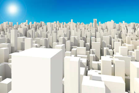 architecture model: 3d big city skyline Stock Photo