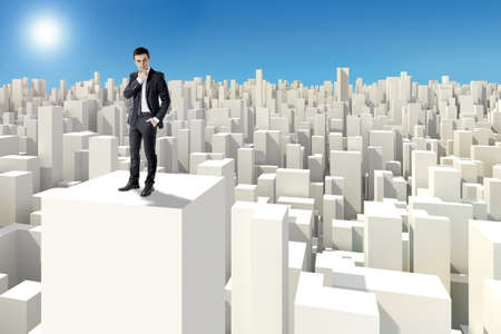 businessman standing on the rooftop of a 3d skyscraper  photo