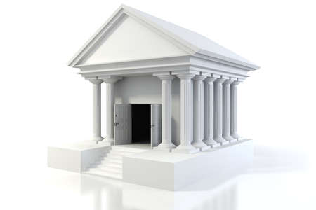 3d icon of vintage bank building on white background Stock Photo