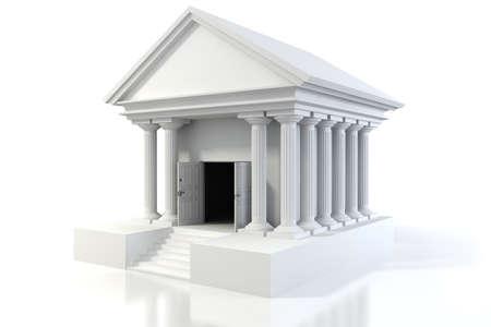 3D-Symbol von Vintage-Bankgebäude auf weißem Hintergrund