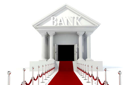 cartoon bank: 3d icon of vintage bank building on white background Stock Photo