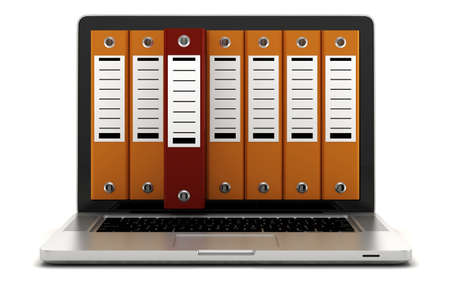 dossier: 3d laptop and folders on white background Stock Photo