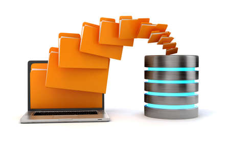 file box: 3d laptop folders and cloud server, on white background