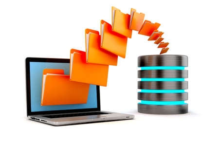 3d laptop folders and cloud server, on white background photo