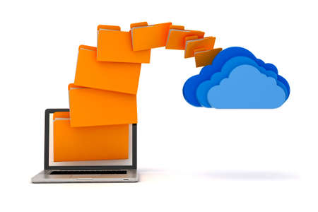 data storage: 3d laptop folders and cloud server, on white background