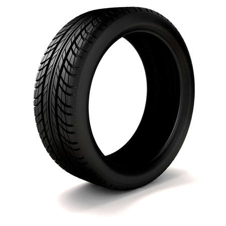 3d tire on white background photo