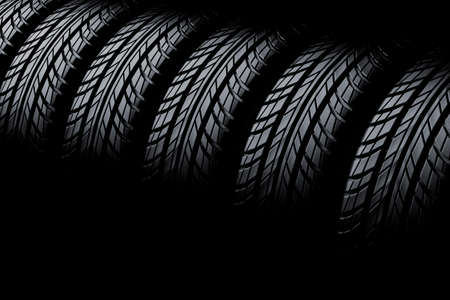 3d tires on black  background photo