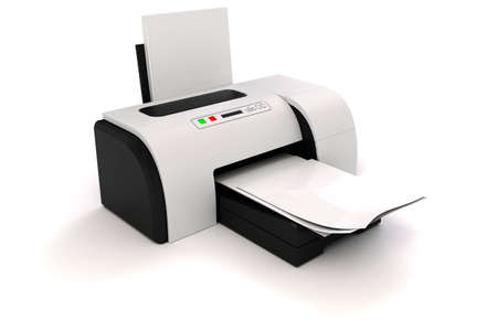 computer printer: 3d image of home printer and documents