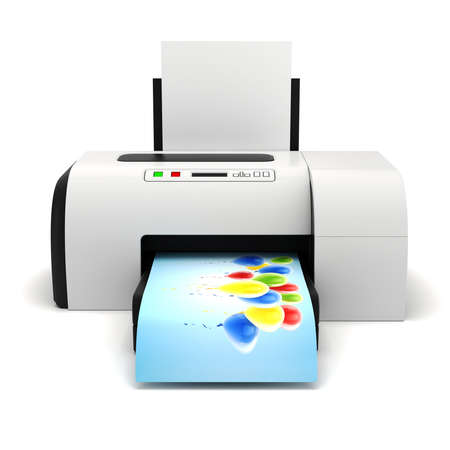 inkjet printer: 3d image of home printer and documents
