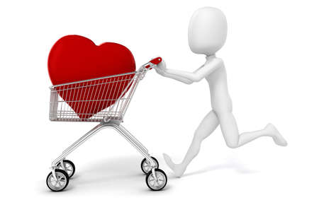 3d man with a big red heart in a shopping cart photo