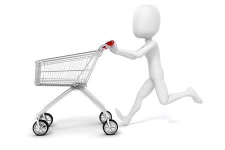 3d man and shopping cart on white background photo