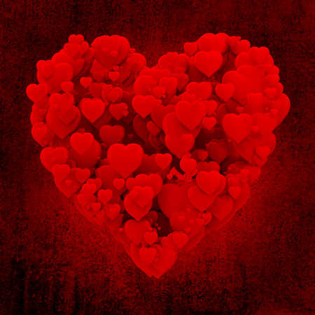 3d heart made of hearts on grunge background photo