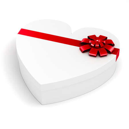 3d heart shape gift box on white background photo