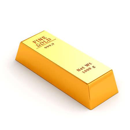 precious metal: 3d gold bar on white background Stock Photo
