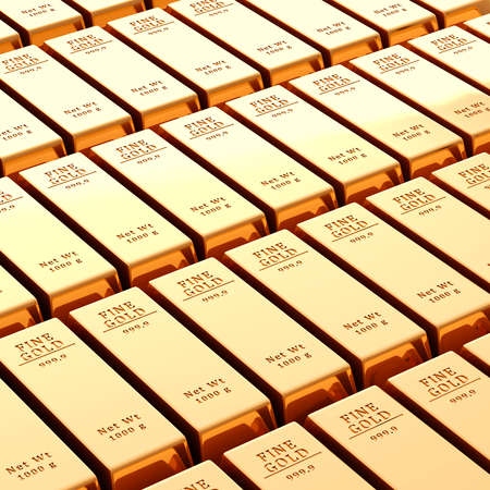 3d gold bars on white background photo