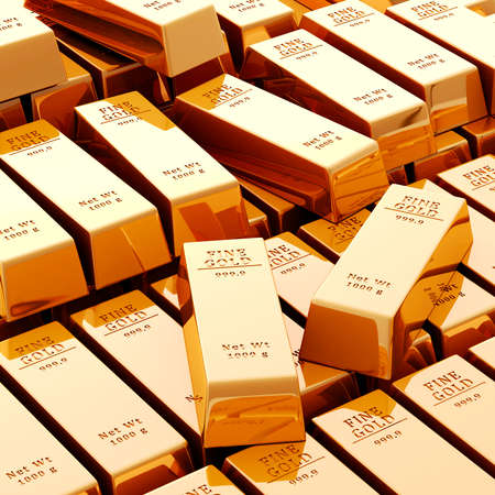 3d gold bars on white background Stock Photo