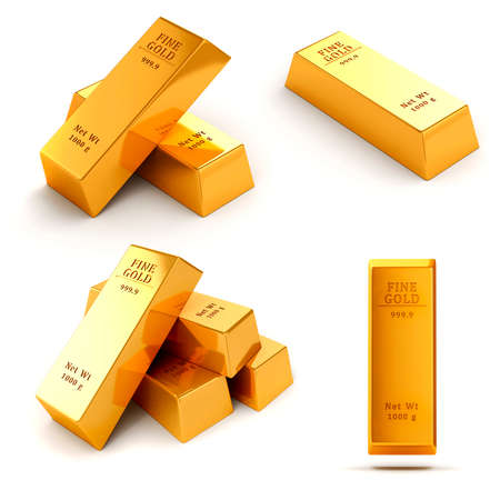 gold ingot: 3d gold bars on white background Stock Photo