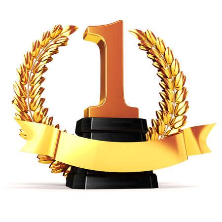 trofeo: 3d trofeo de oro y laurel Foto de archivo