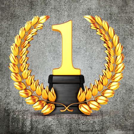 winning first: 3d golden trophy and laurel
