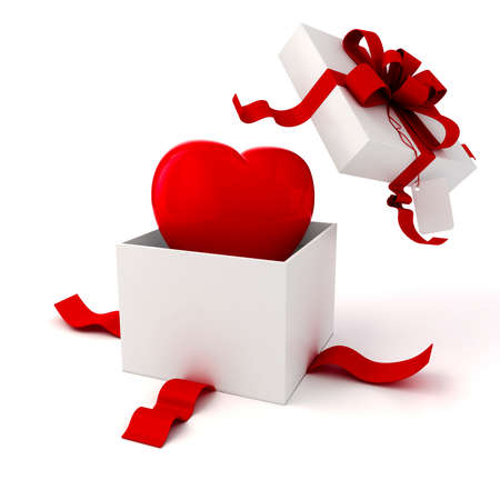 3d present box and hearts on white background photo