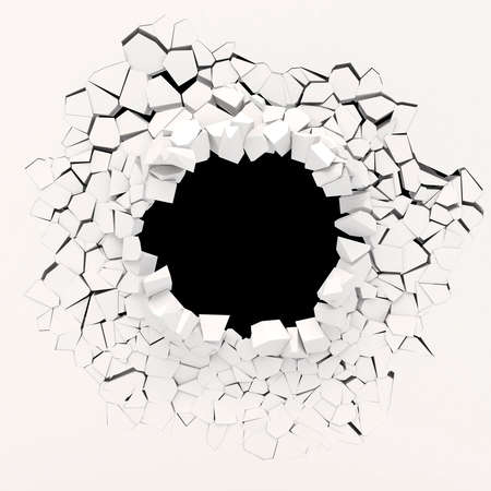 3 d 壁破壊 写真素材