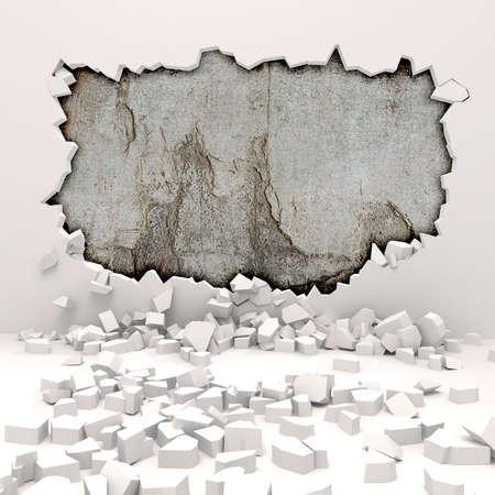 3d muur vernietiging Stockfoto