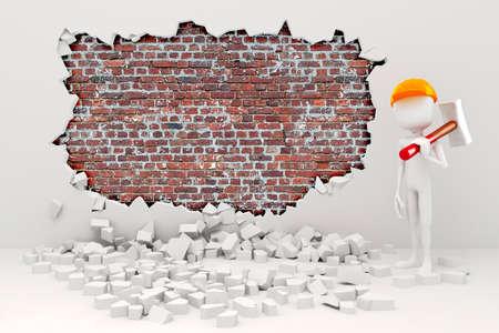 trineo: 3d hombre demolición de una pared Foto de archivo