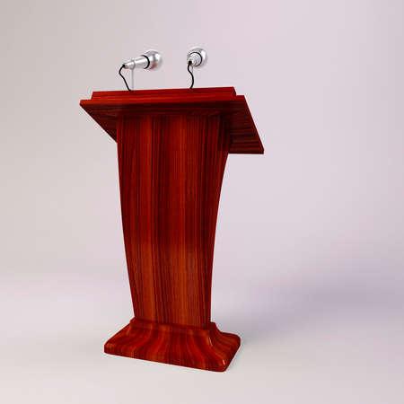 tribune: 3d tribune speech and  microphones
