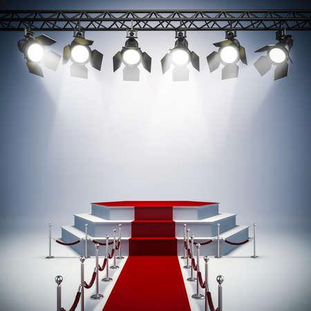 iluminacion: Luces del punto 3d y disposición del escenario Foto de archivo