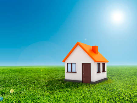 home value: 3d house, green grass and clear blue sky