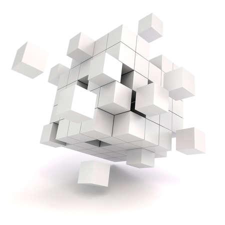 흰색 배경에 3 차원 추상 큐브