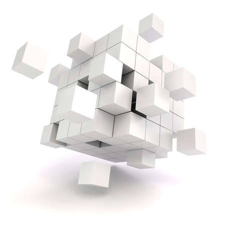 3d abstract cubes on white background