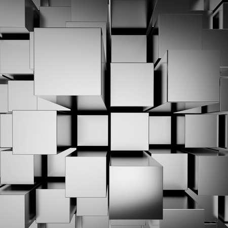 building blocks: 3d abstract chrome blocks background Stock Photo